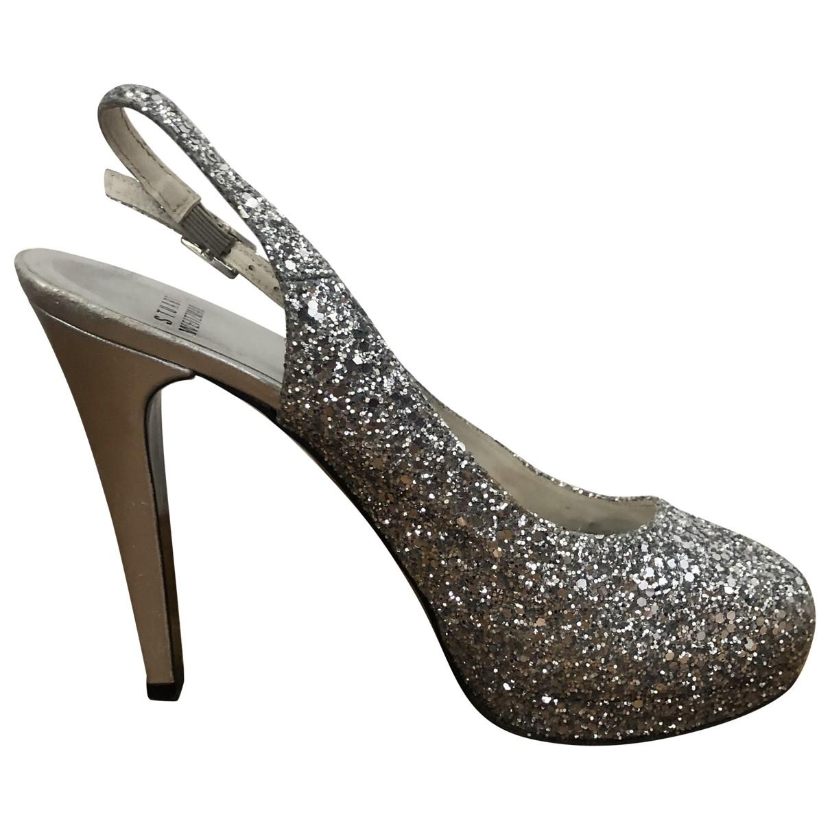 Stuart Weitzman \N Silver Glitter Sandals for Women 38 IT