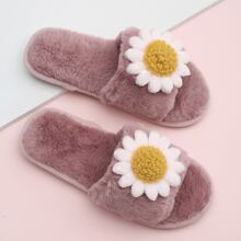 Open Toe Floral Decor Fluffy Slippers