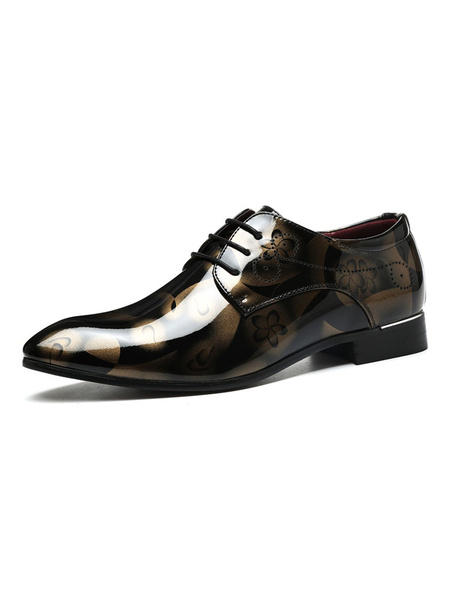 Milanoo Dress Shoes For Man Modern Round Toe Strap Adjustable PU Leather Artwork Men\'s Lace Oxford Dress Shoes