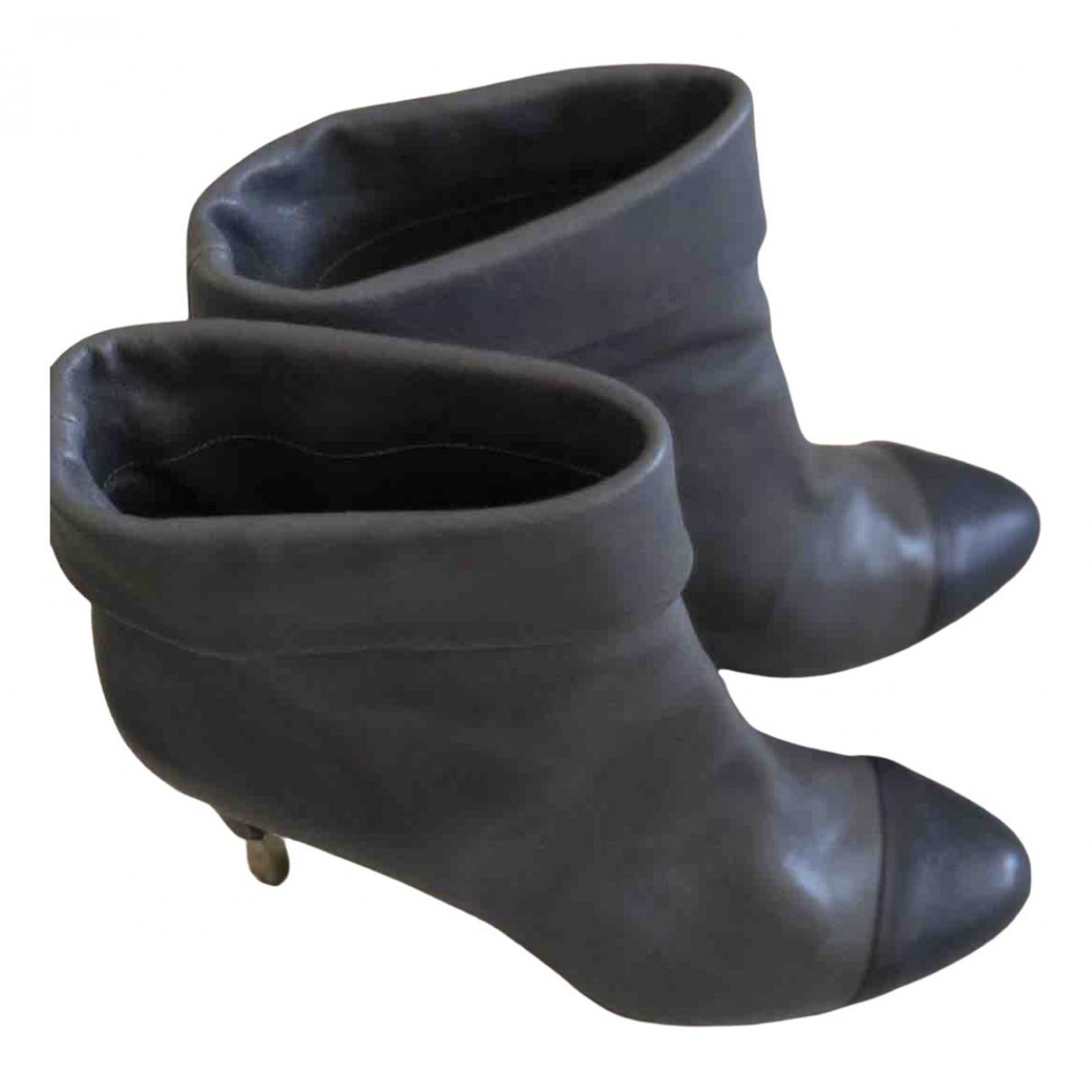 Chanel - Boots   pour femme en cuir - bleu