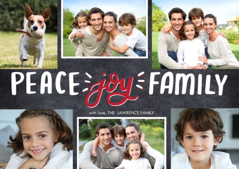 Christmas Photo Cards Flat Glossy Photo Paper Cards with Envelopes, 5x7, Card & Stationery -Christmas Peace Script Joy by Tumbalina