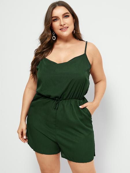 Yoins Plus Size Green Backless Design Sleeveless Playsuit