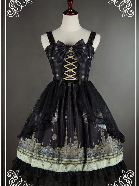 Milanoo Vestido de Lolita sintetico negro con encaje arcos