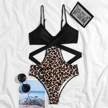 Leopard Cut-out Twist One Piece Swimsuit