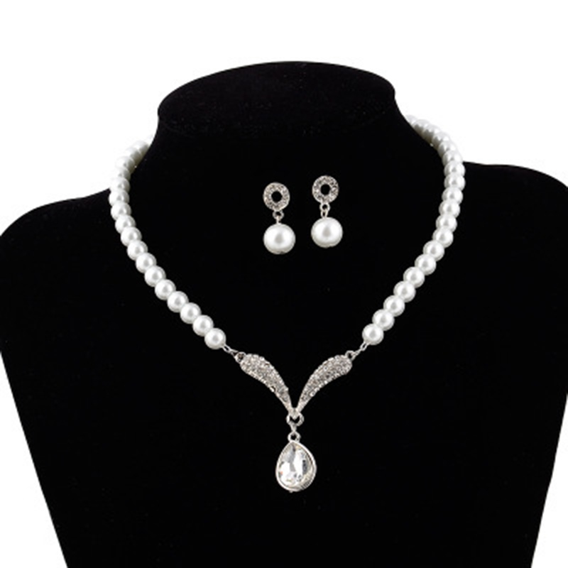 Water Drop European Pearl Inlaid Jewelry Sets (Wedding)