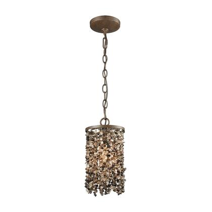 65315/1 Agate Stones 1 Light Pendant in Weathered Bronze with Dark Bronze Agate