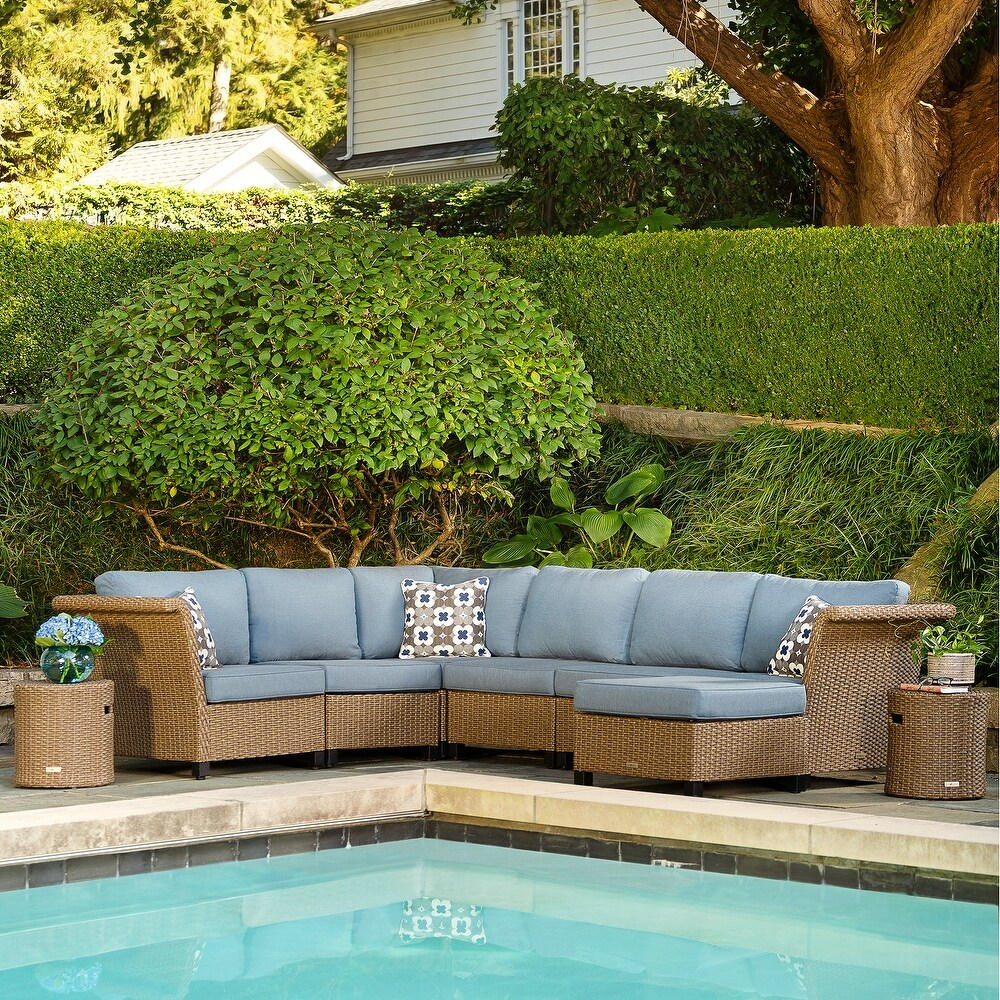 La-Z-Boy Nolin 6pc Weathered Brown Sectional Set with 2 Side Tables and 1 Ottoman, Sunbrella Spectrum Denim Fabric (Weathered Brown)