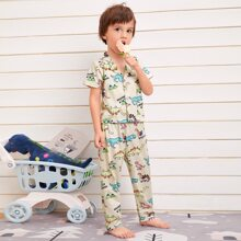 Toddler Boys Allover Cartoon Graphic PJ Set