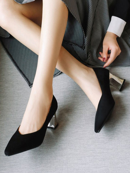 Milanoo Women Mid-Low Heels Light Sky Bluen Suede Pointed Toe Chunky Heel Slip-On Pumps