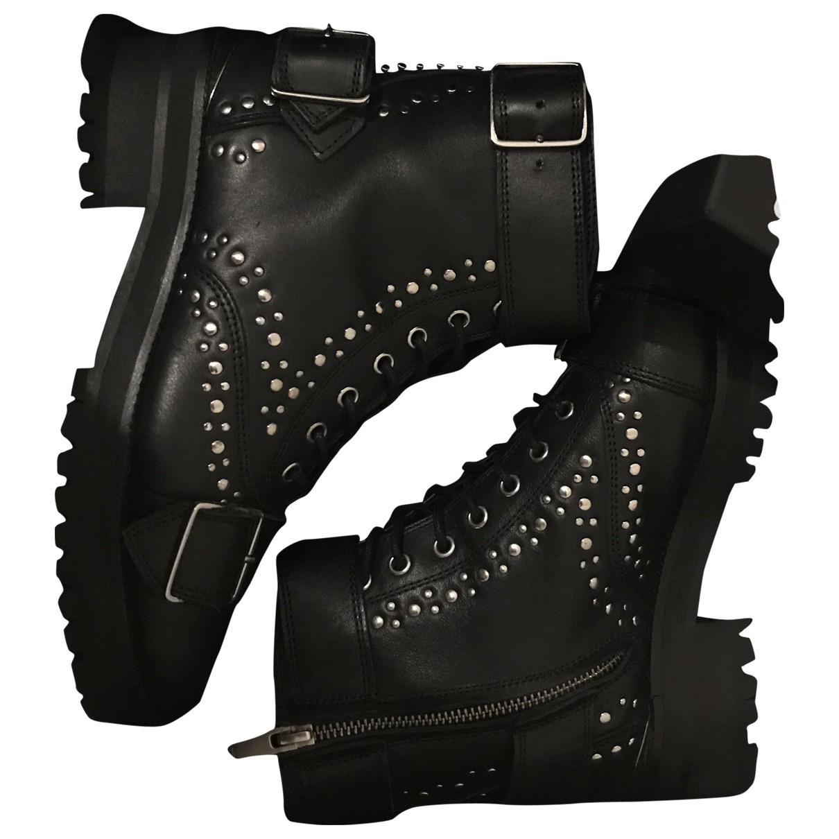 The Kooples \N Black Leather Boots for Women 38 EU