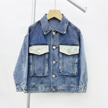 Boys Flap Pocket Button Front Denim Jacket