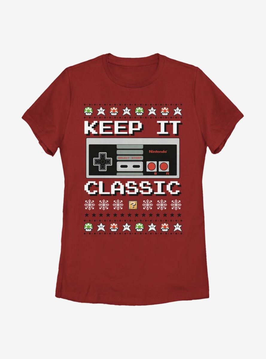 Nintendo Classic Controller Christmas Pattern Womens T-Shirt