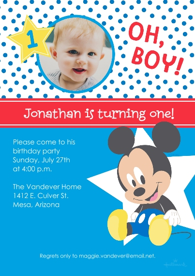 Kids Birthday Party Flat Matte Photo Paper Cards with Envelopes, 5x7, Card & Stationery -Mickey Mouse First Birthday