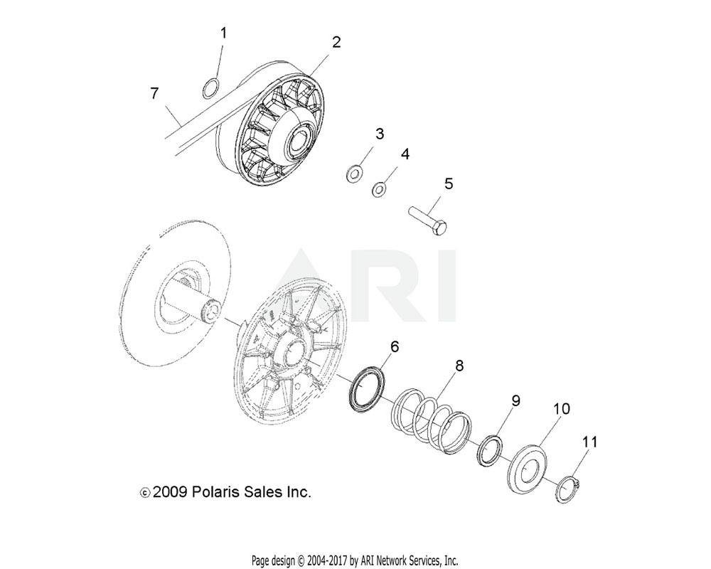 Polaris OEM 1322875 Asm., Driven Clutch, Damped   [Incl. 6, 8-11]