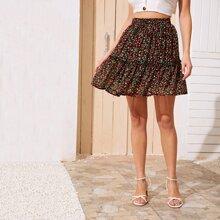 Falda con estampado de cereza ribete fruncido