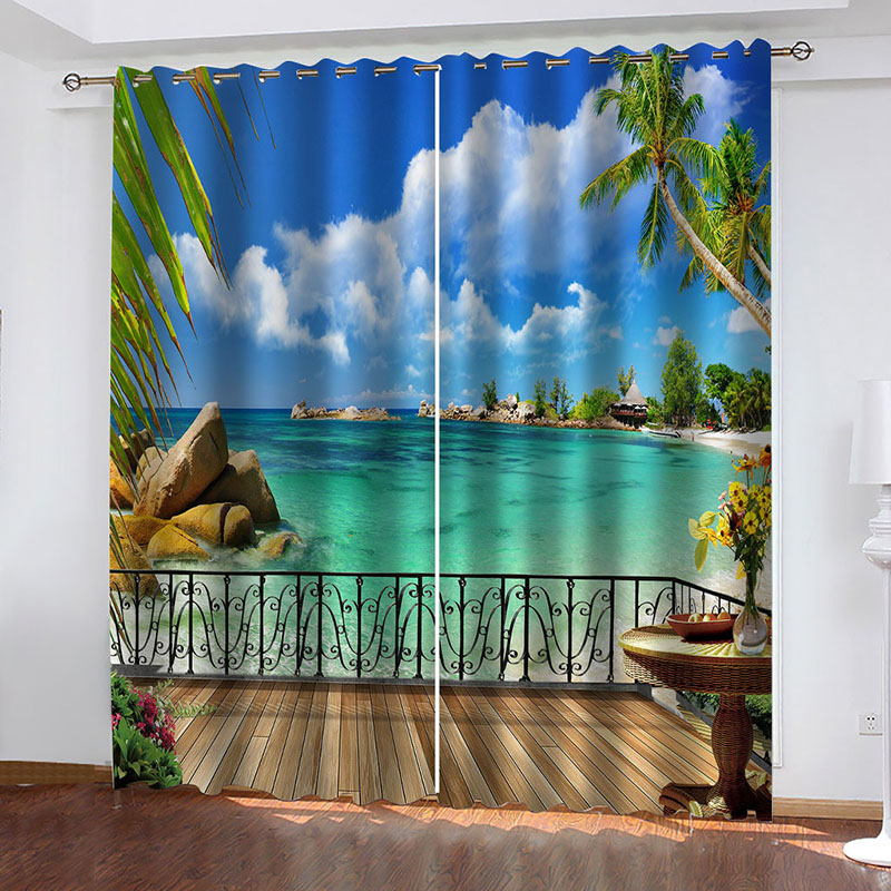 3D Seaside Scenery Decoration Blackout Window Curtains for Living Room Bedroom No Pilling No Fading No off-lining Blocks Out 80% of Light and 90% of U