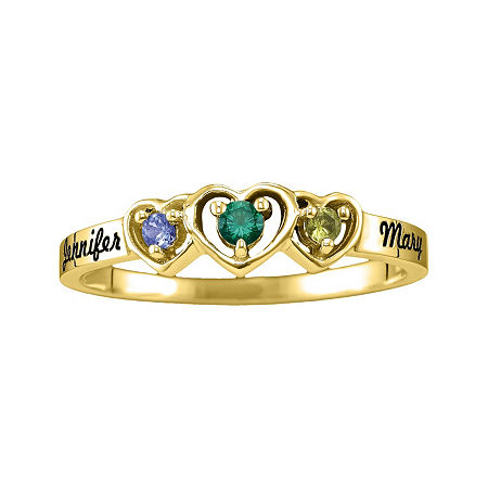 Womens Simulated Multi Color Stone 10K Gold Heart 3-Stone Cocktail Ring, 4 , No Color Family