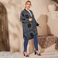 Langer Mantel mit Paisley und Schal Muster