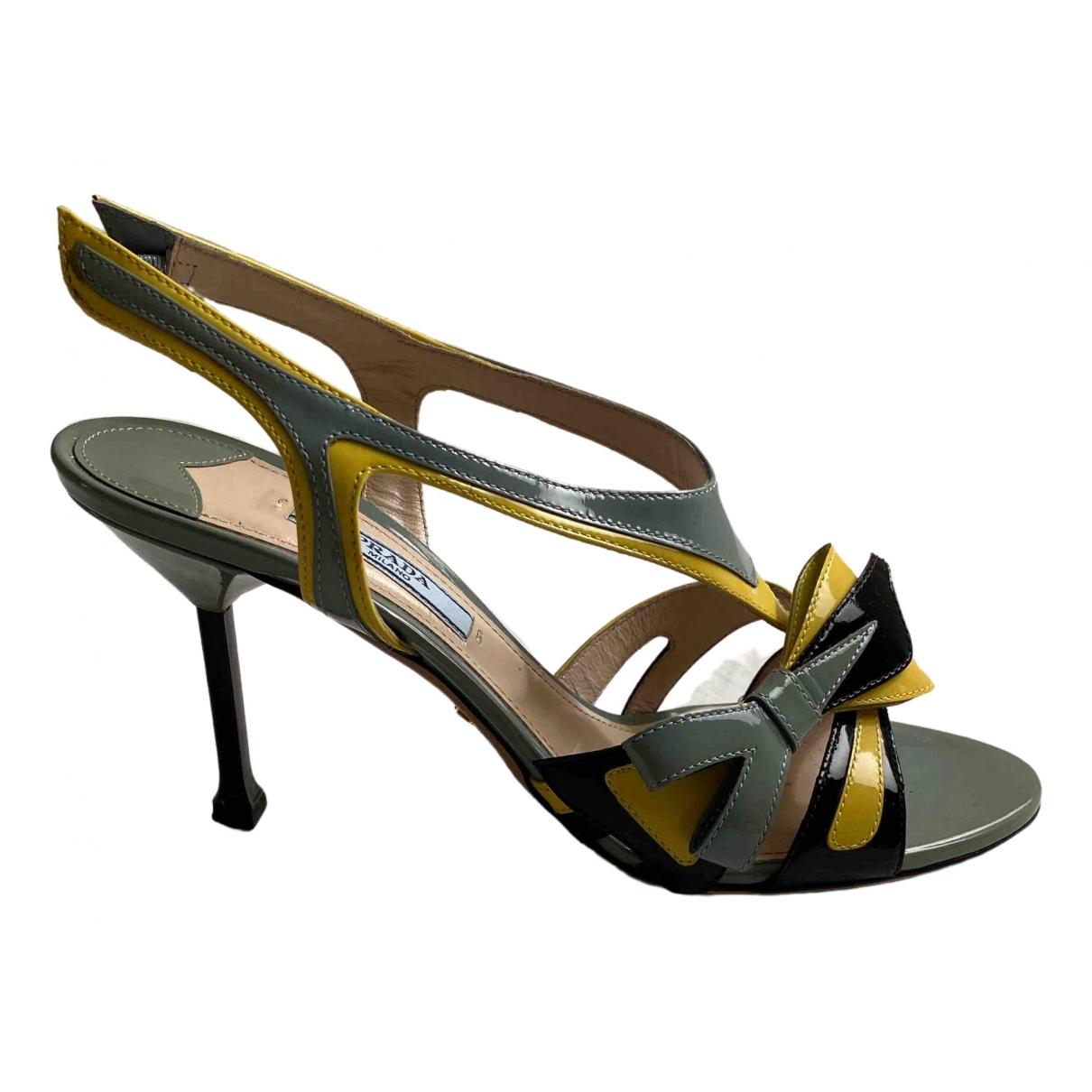 Prada Flame Green Patent leather Sandals for Women 37.5 EU