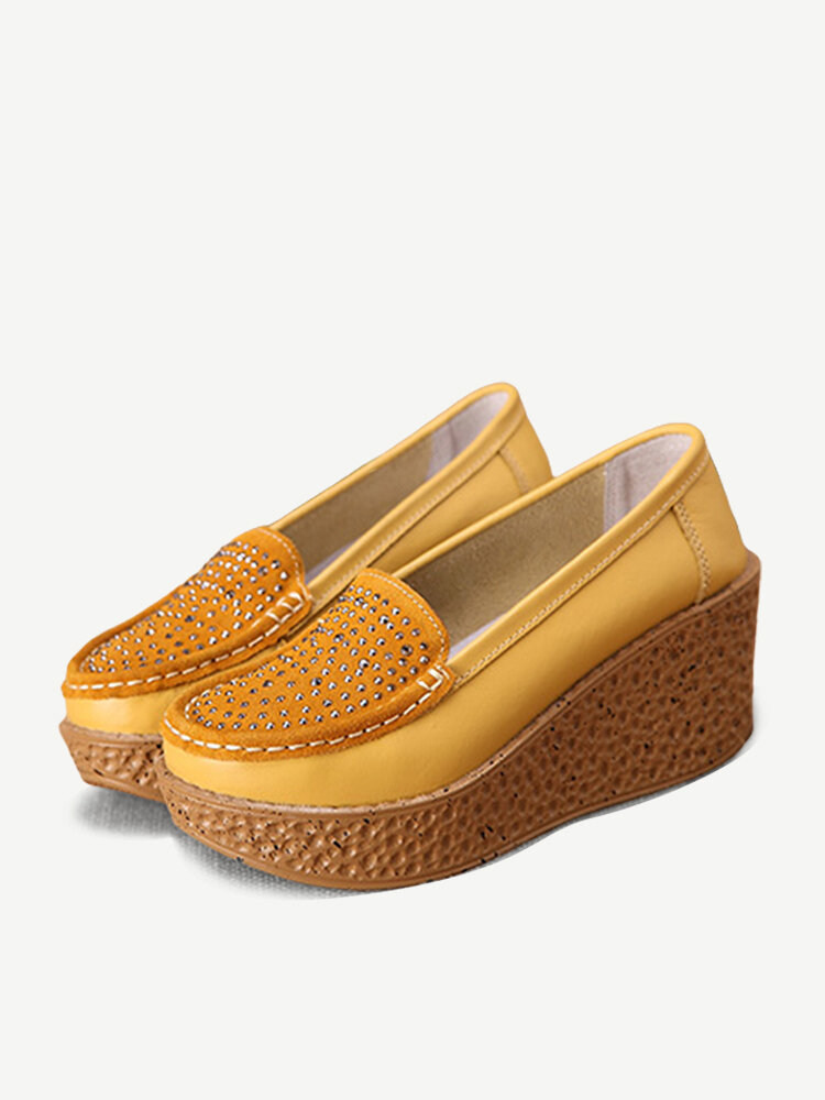 Rhinestone Wedges Platform Slip On Womens Shoes