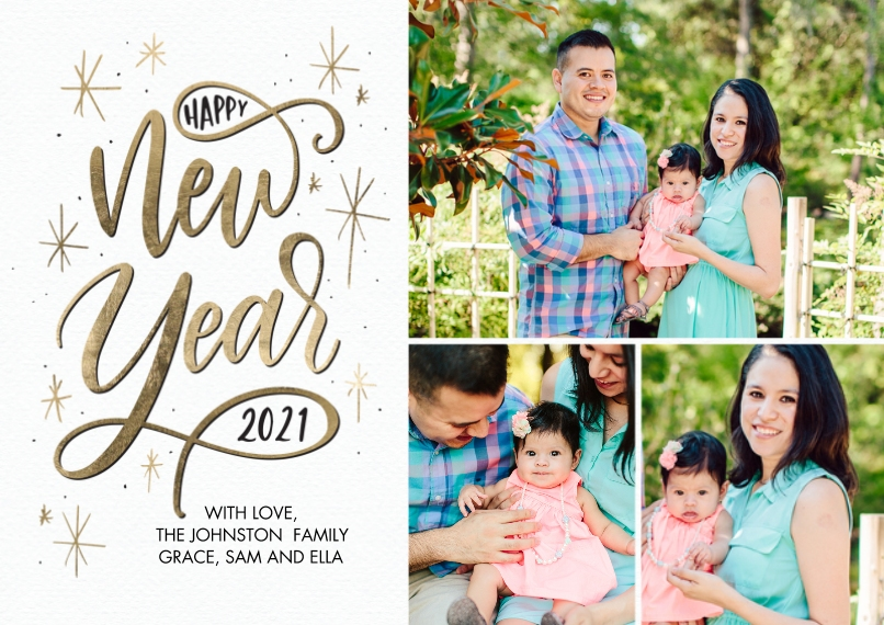 New Year's Photo Cards 5x7 Cards, Premium Cardstock 120lb with Elegant Corners, Card & Stationery -2021 New Year Script by Tumbalina