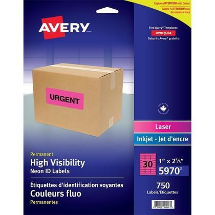 Avery@ etiquettes a haute visibilit e laser etiquettes, 2-5/8 x 1� 750/paquet, n eon magenta