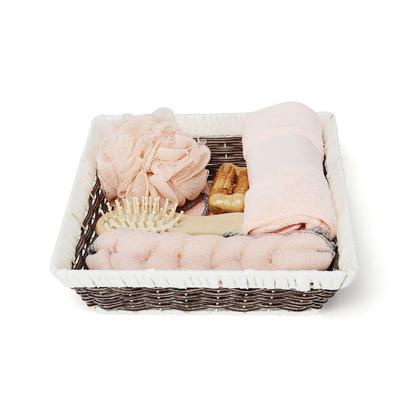7Pcs/Set Home Bath Body Spa Basket Tools Kit Bathing Tools for Men & Women - Pink