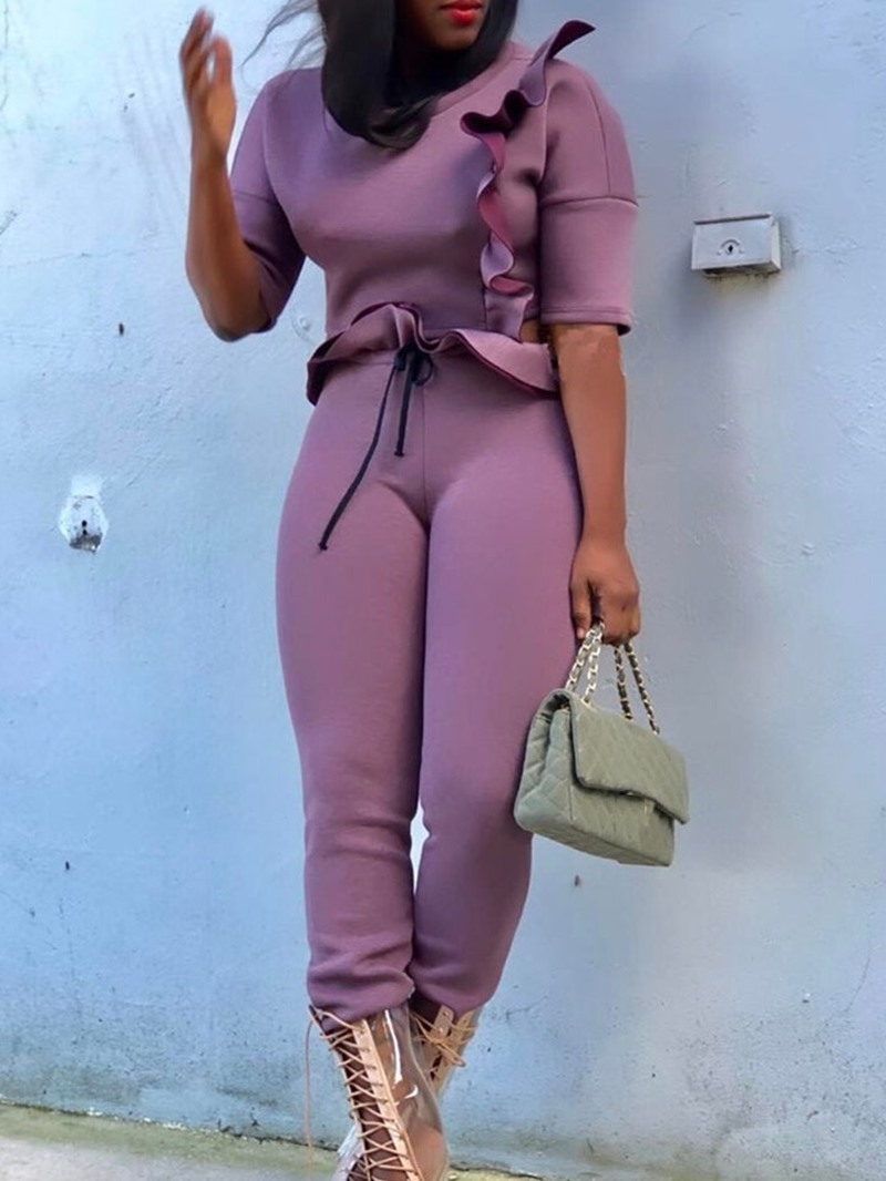 Ericdress Falbala Fashion Pullover Round Neck Two Piece Sets