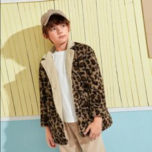 Boys Notched Collar Leopard Teddy Lined Faux Fur Coat