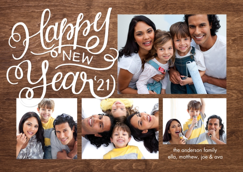 New Year's Photo Cards 5x7 Cards, Premium Cardstock 120lb with Rounded Corners, Card & Stationery -New Year 2021 Script by Tumbalina