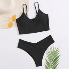Bikini Badeanzug mit V Kragen