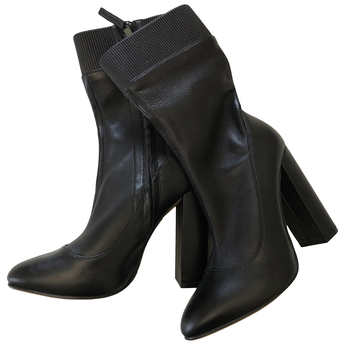 Zara \N Black Fur Ankle boots for Women 35 EU