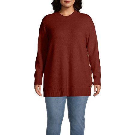 Liz Claiborne Tunic Sweater - Plus, 0x , Red