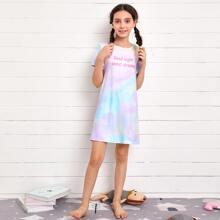 Girls Slogan Graphic Tie Dye Nightdress