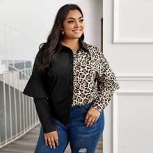 Plus Leopard Print Spliced Ruffle Blouse