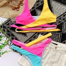 Color Block Cut-out Wrap Bikini Swimsuit