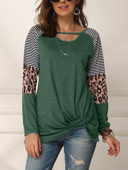 Yoins  YOINS Leopard Striped Splice Twist Design Tee