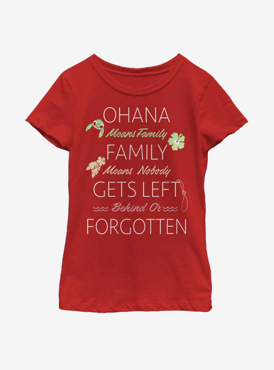 Disney Lilo And Stitch Ohana Means Family Youth Girls T-Shirt