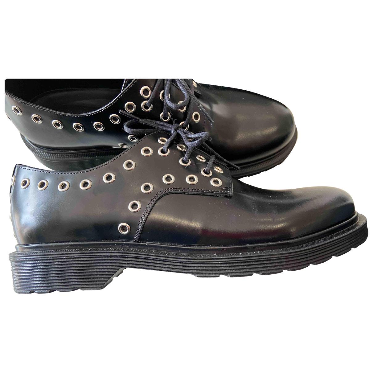 Maje N Black Leather Lace ups for Women 37 EU