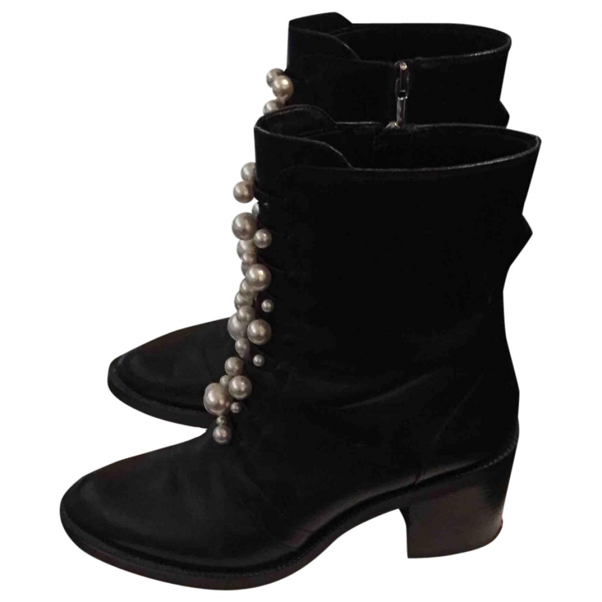 Zara \N Black Leather Boots for Women 39 EU