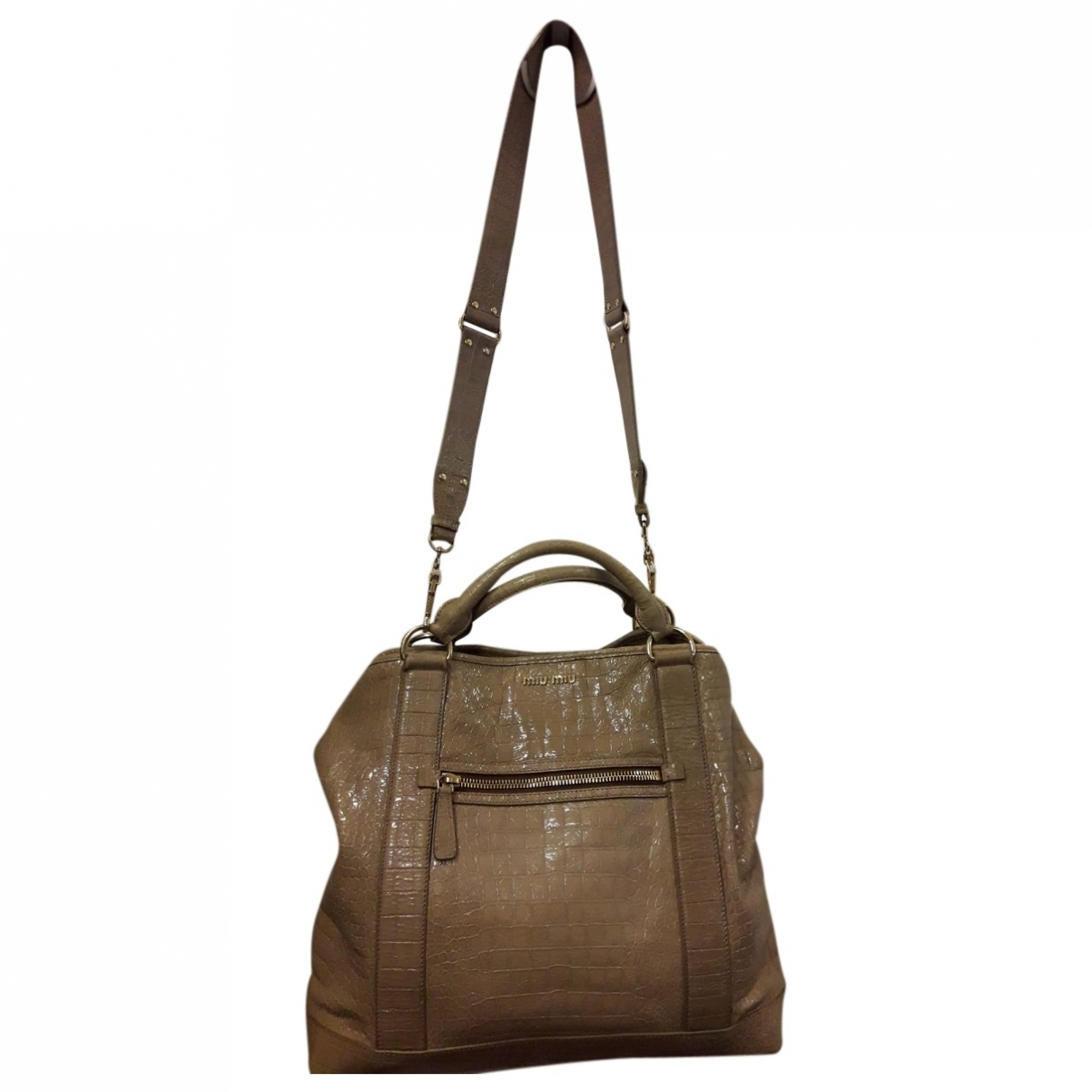 Miu Miu Bow bag Beige Patent leather handbag for Women \N