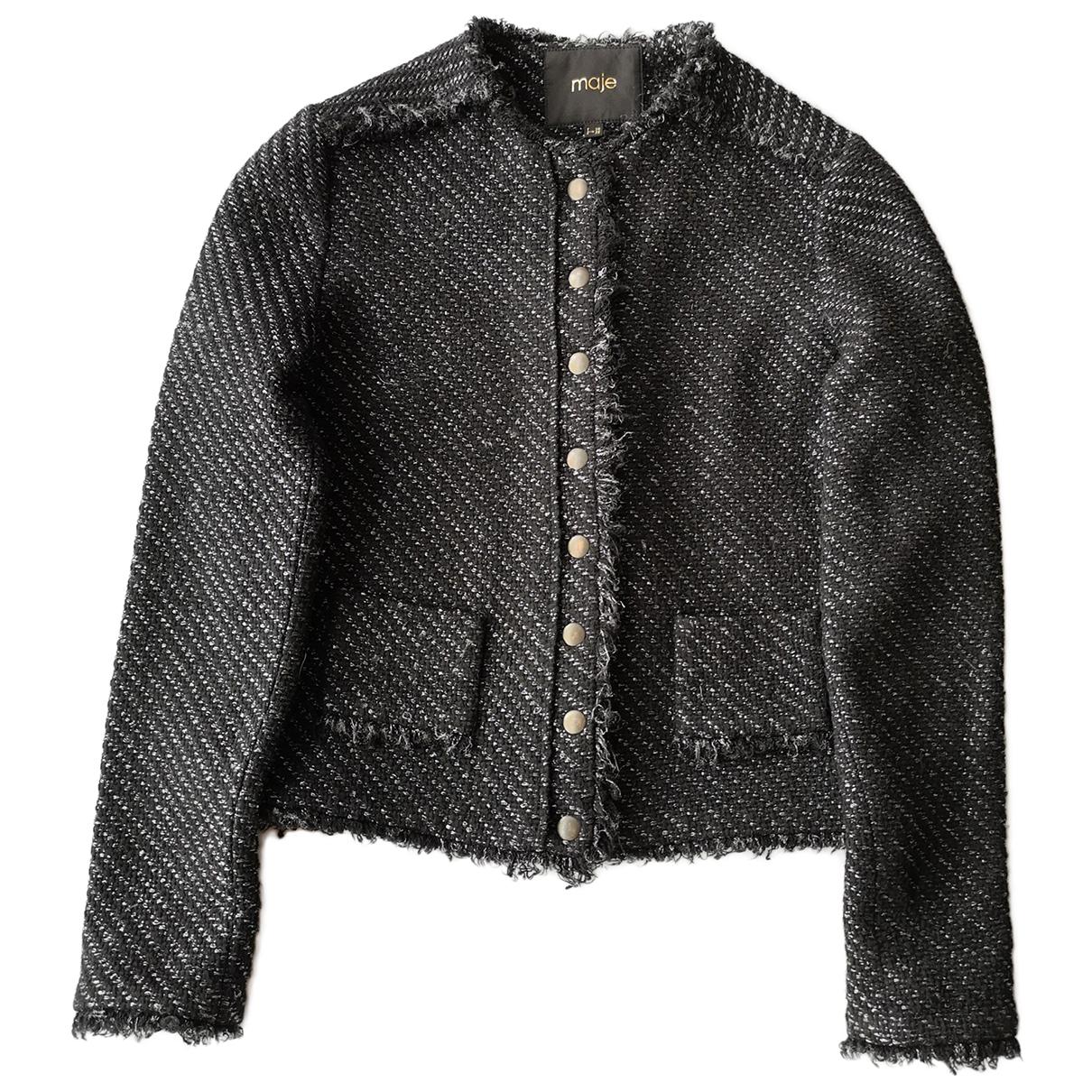 Maje - Veste   pour femme en tweed - noir