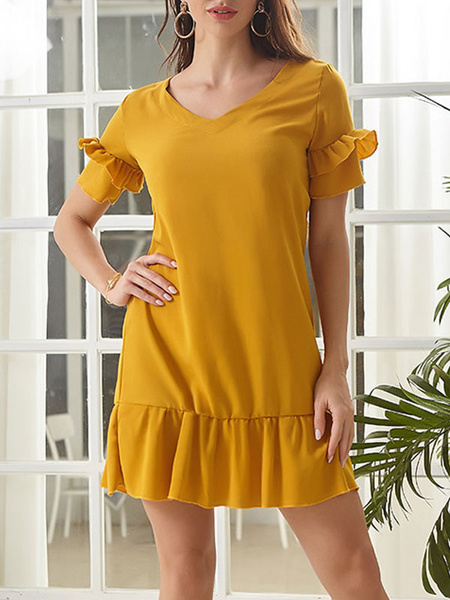 Milanoo Summer Dress Yellow Jewel Neck Ruffles Chiffon Short Sleeves Beach Dress