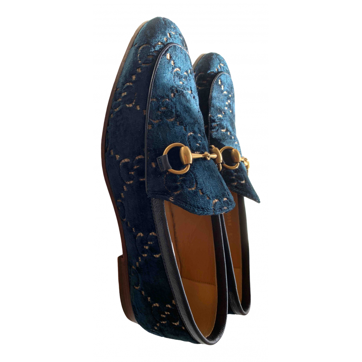 Gucci Brixton Mokassins in  Blau Samt