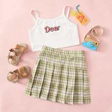 Girls Letter Graphic Cami Top & Plaid Pleated Skirt Set