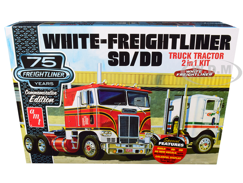 Skill 3 Model Kit White Freightliner SD/DD Truck Tractor 2 in 1 Kit with Display Base