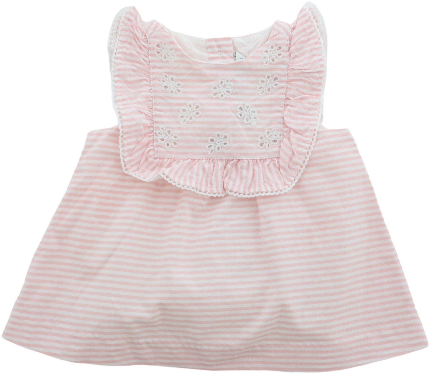 Janie And Jack Girl's Petal Pink Stripe Striped Eyelet One Piece Romper - 0-3 Months