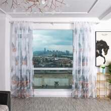 Leaf Print Single Panel Sheer Curtain