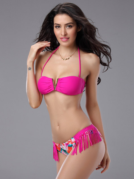Milanoo Sexy Bikini Swimsuit Halter Printed Fringe Two Piece Beach Bathing Suit