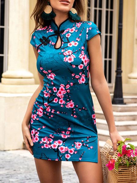 Milanoo Vestidos ajustados Azul Estampado Manga corta Botones Casual Cuello alto Dividido Vestido ajustado Vestido tubo